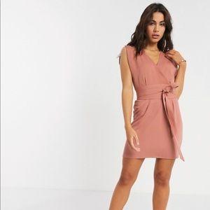 ASOS design split cap sleeve wrap mini dress